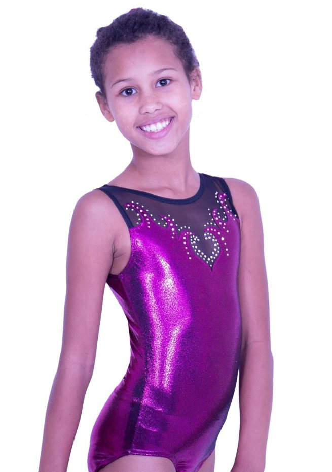 Z92S35 P01D blackberry shimmer leotard gymnastics competition with black mesh