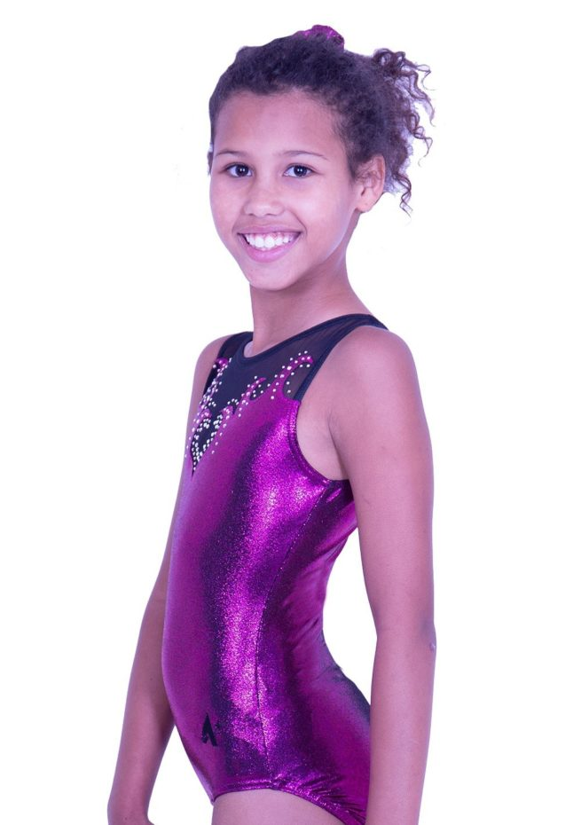 Z92S35 P01D pink girls sleeveless leotard with mesh and diamante