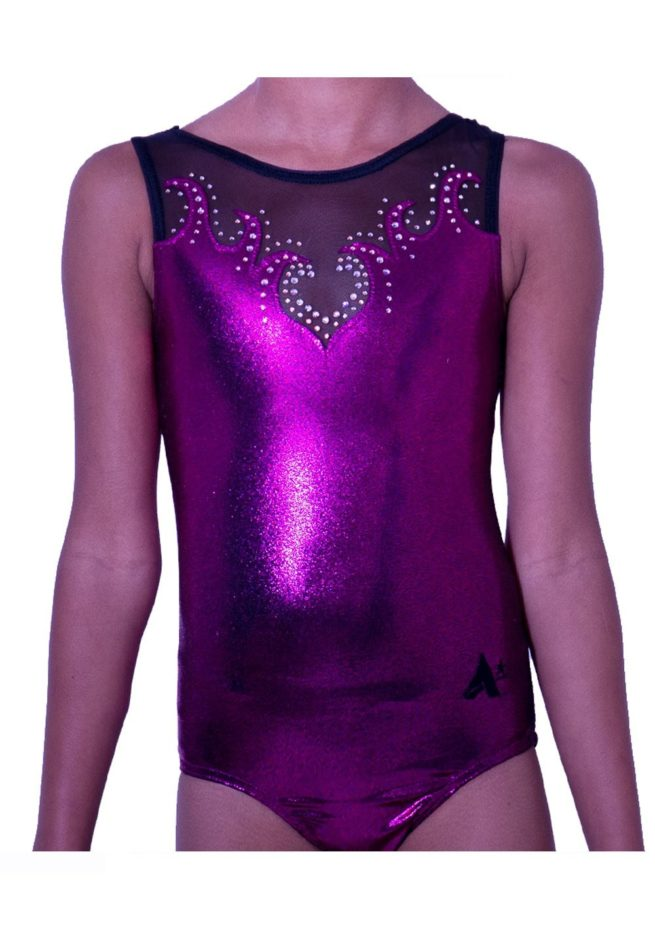 Z92S35 P01D pink shimmer girls gymnastics leotard with black mesh top and sparkle