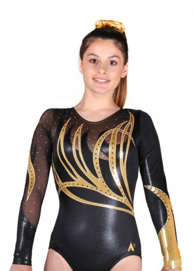ZOE K141 Black and gold competition leotard front