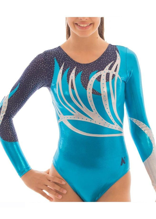 ZOE K141 Turquoise sleeved leotard with net