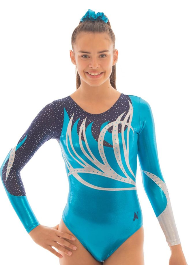 ZOE K141 Turquoise sleeved leotard with net front 1