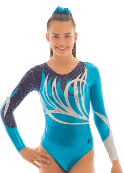 ZOE K141 Turquoise sleeved leotard with net front