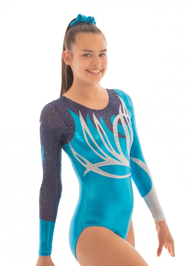 ZOE K141 Turquoise sleeved leotard with net side1