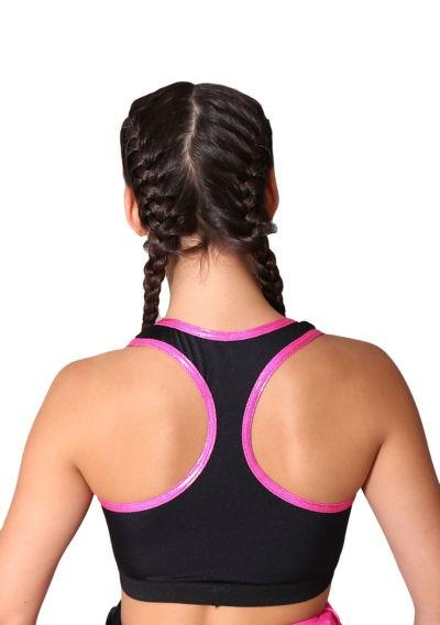 back pink binding black crop top
