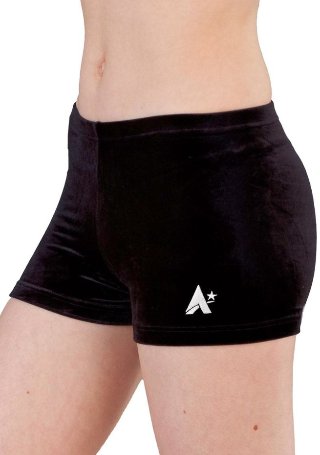 black velour girls sports shorts