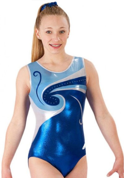 blue swirly girls leotard gymnastics bold diam z77s02 s24d f