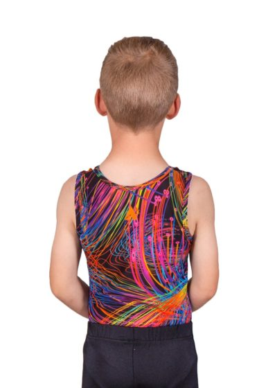 bright sparks bv L119 patterned boys gym leotard back Edit