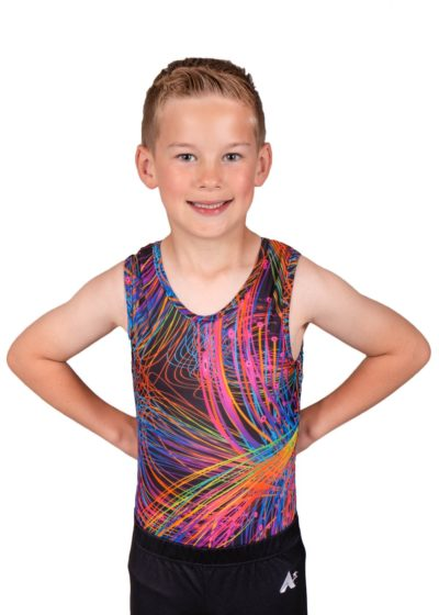 bright sparks bv L119 patterned boys gym leotard front Edit
