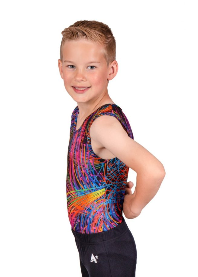 bright sparks bv L119 patterned boys gym leotard side Edit