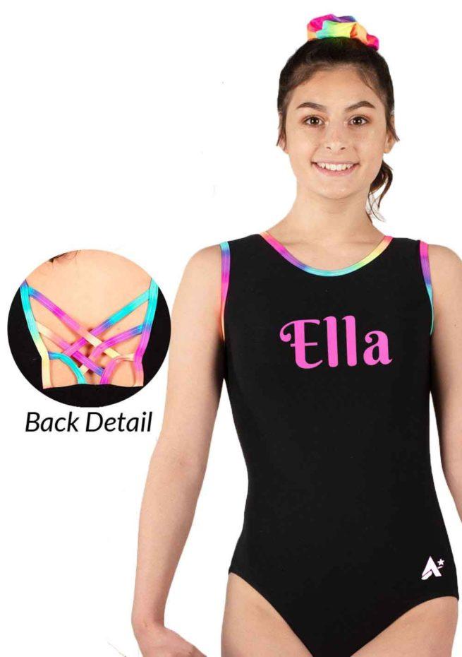 girls black leotard fancy back Z453N01 L127 rainbow
