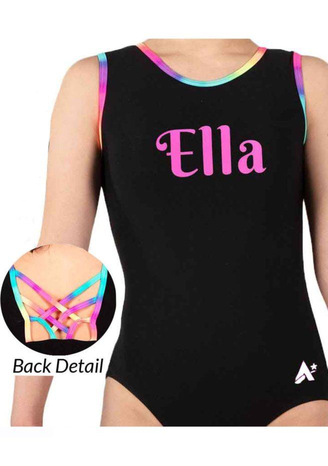 girls black leotardpersonalised fancy back Z453N01 L127 rainbow