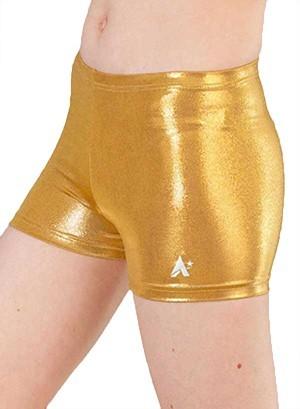 gold shimmer girls gymnastics shorts p s10