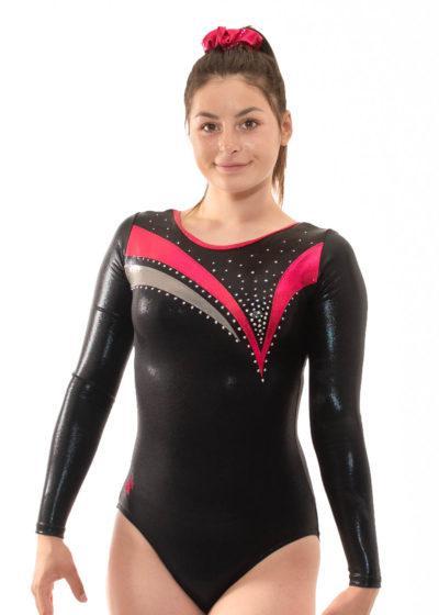 k451 Shay black velour pink detail sleeved front
