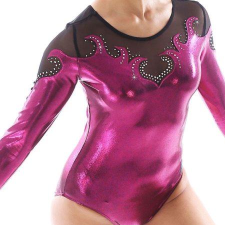 lannah k92 pink gym leotard with mesh detail