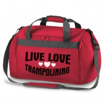 live love trampolining red bag