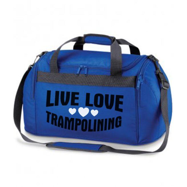 live love trampolining royal blue bag