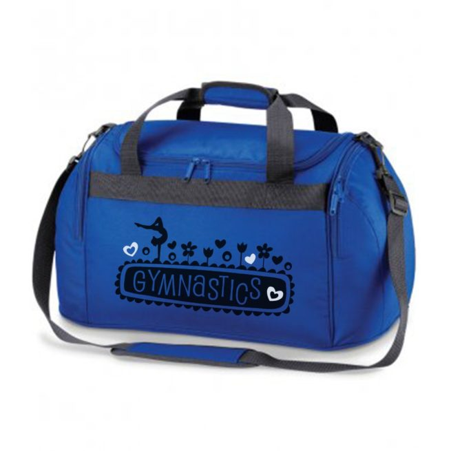 royal blue gymnastics floral bag