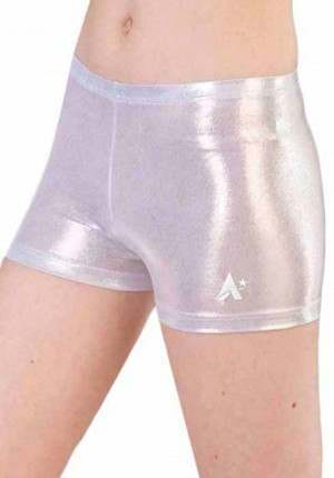 silver girls shorts foil gymnastics uk p s61 2t4g cw