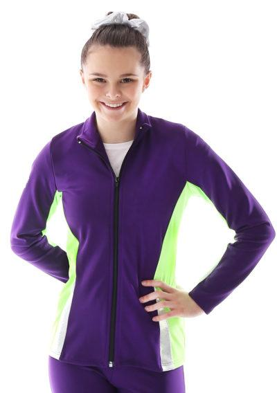 ts57 purple and flo green tracksuit jacket ladies front