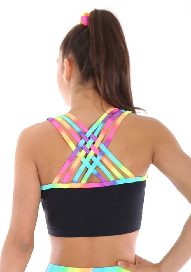 Black lycra crop top with Rainbow binding strap back back