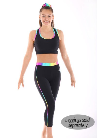 Black lycra crop top with Rainbow binding strap back set