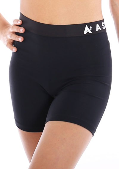 Black lycra gym shorts with waistband main FRONT