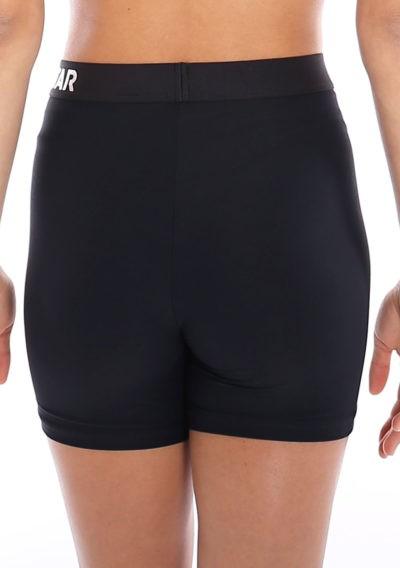 Black lycra gym shorts with waistband main back