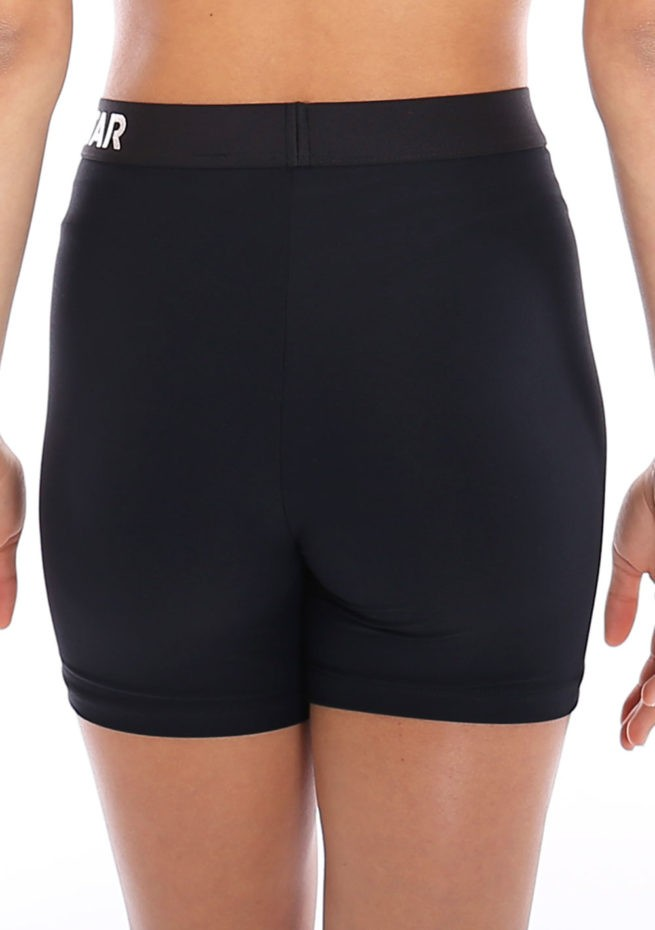 Black lycra gym shorts with waistband main back