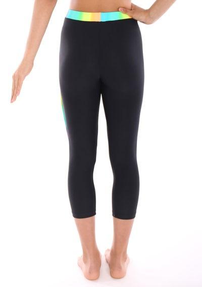 Black lycra leggings with Rainbow waistband back