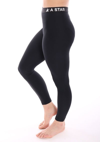 black lycra leggings with elastic waistband for the gym main