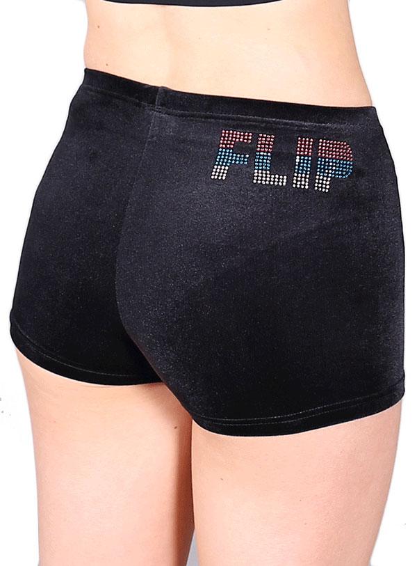 gymnastics slogan shorts velour velvet flip shorts uk