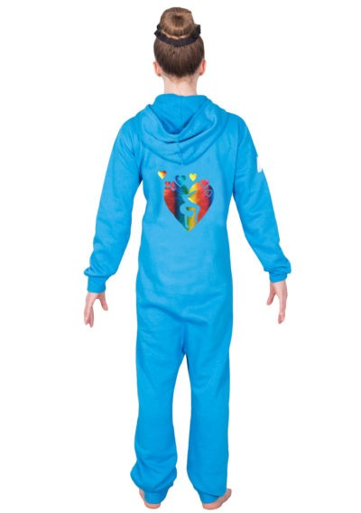 4.5 RAINBOW HEART TURQUOSE ONESIE