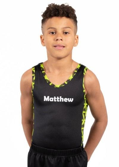 BV207 Matthew black ghreen patterned contrast panel boys gym leotard front Berlin Sans FB Demi font