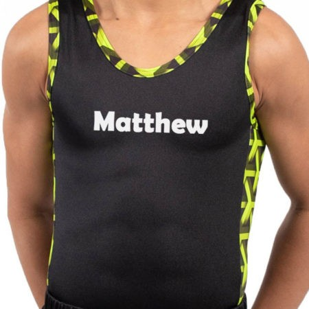 BV207 Matthew black ghreen patterned contrast panel boys gym leotard personalised