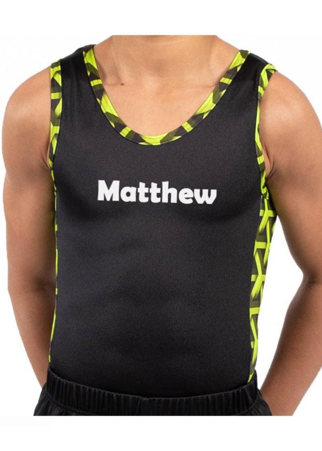 BV207 Matthew black ghreen patterned contrast panel boys gym leotard personalised