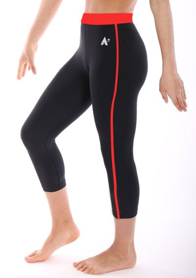 Black lycra leggings with Rainbow waistband side