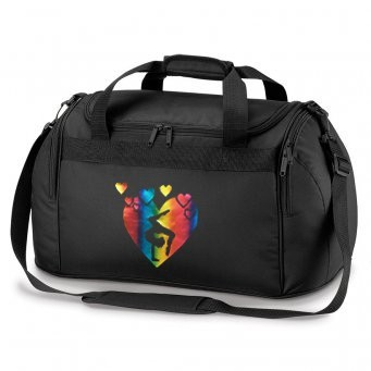 HOLDALL 01 HEARTS black bag rainbow gymnast