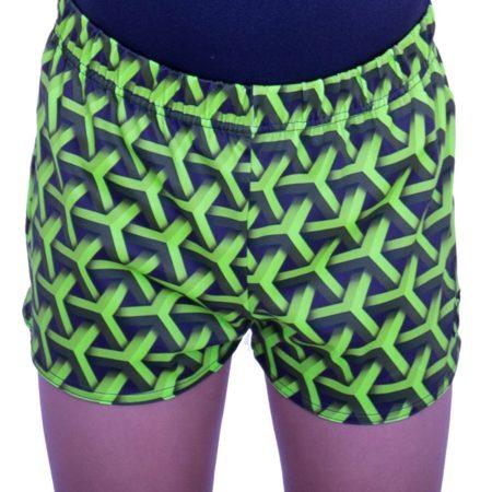 PBC L146 green pattern boys gym shorts
