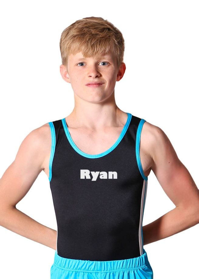 RYAN BV209 Black and blue trampoline side detail boys leotard front gill sans ultra bold 1