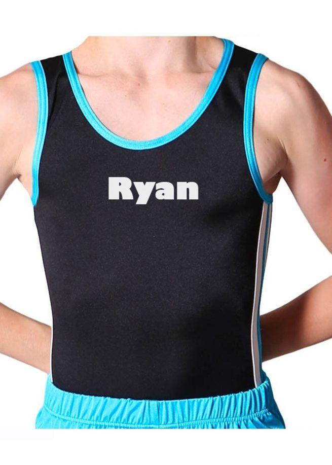RYAN BV209 Black and blue trampoline side detail boys leotard mens