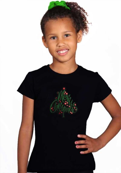 christmas tree t shirt black