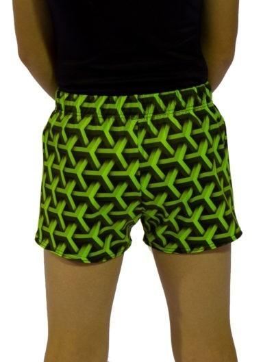 green geo shorts