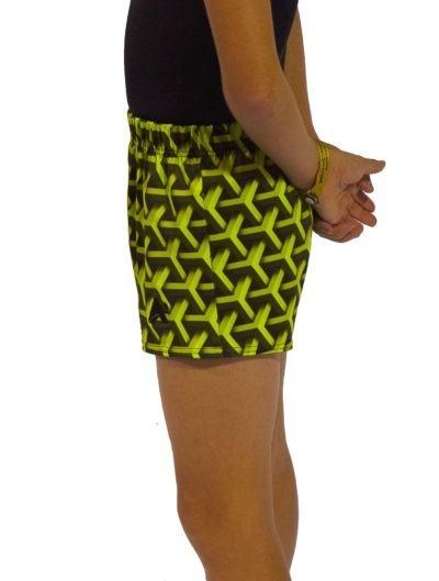 green geo shorts side