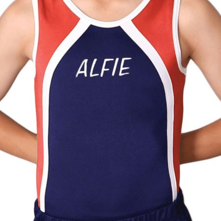 navy red and white named boys leotard personalised