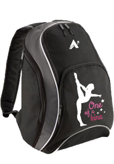 BACKP 09 OKIND BLACK BACKPACK WITH GYMNASTICS PRINT FASHIONABLE BAG FOR GYMNASTICS