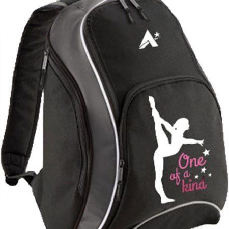 BACKP 09 OKIND BLACK BACKPACK WITH GYMNASTICS PRINT FASHIONABLE BAG FOR GYMNASTICS