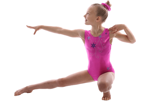 Girl in bright pink leotard with flowers on