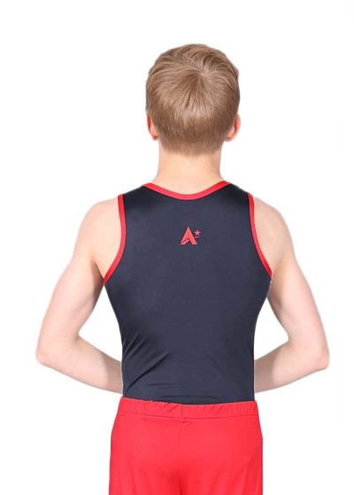 BLACK WITH RED BINDING BOYS LEOTARD