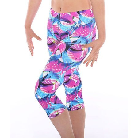 Motion patterned sports gym leggings in pink and blue